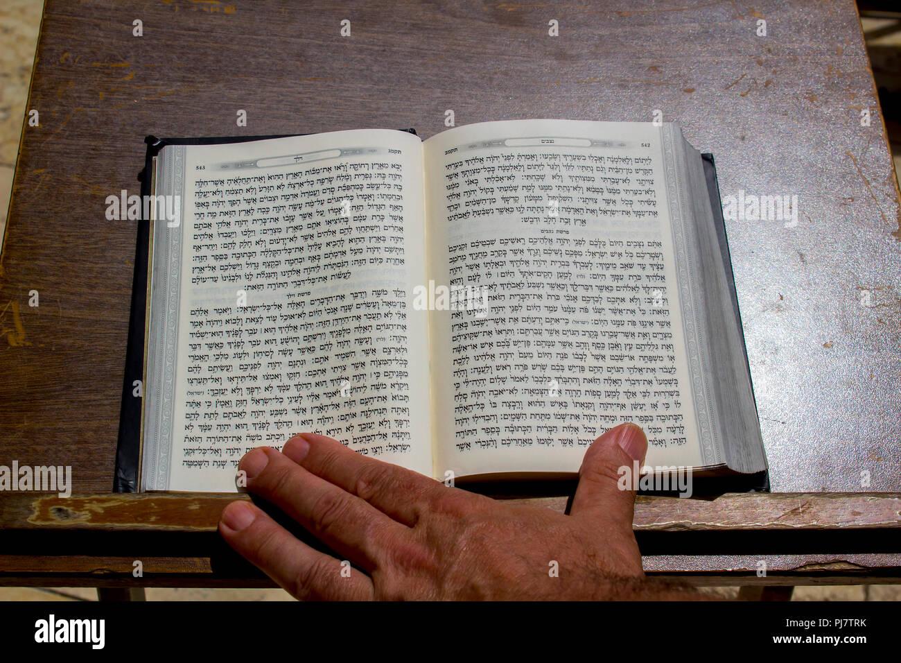 10 May 2018 A hard back copy of the Jewish Torah on a lectern at the Wailing Wall in Jerusalem Israel - Stock Image