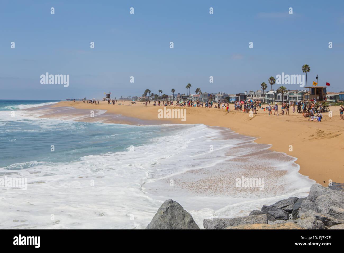 Balboa peninsular at The world famous surfing spot 'The Wedge' Newport Beach California USA - Stock Image