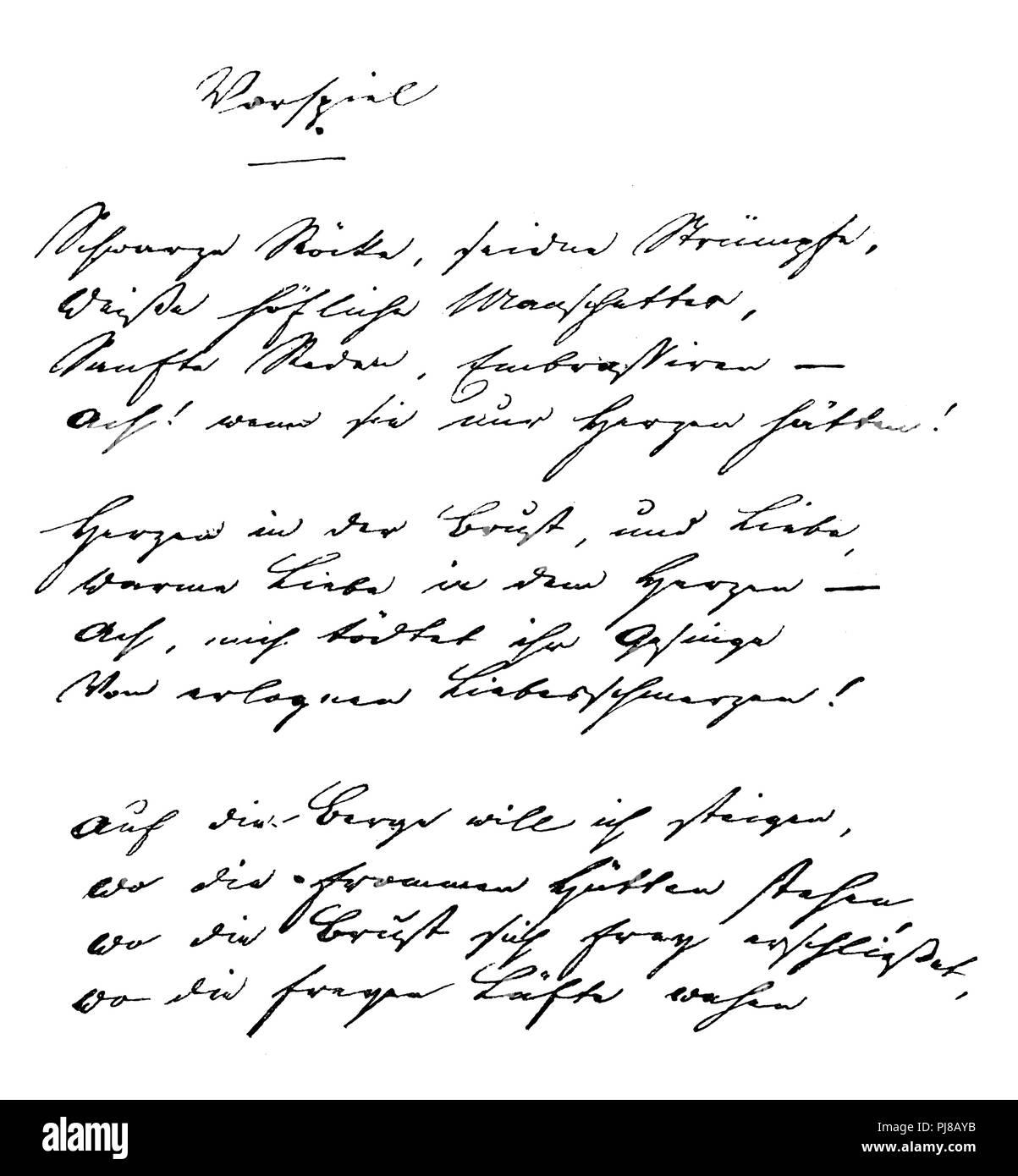 Poem 'Wortspiel' by Heinrich Heine, p. 1. Original in possession of the Dame of König-Warthausen in Stuttgart, - Stock Image