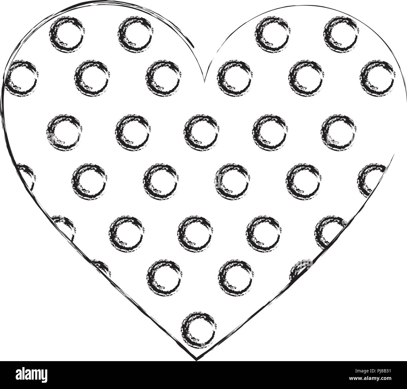 cookie of chocolate in shape heart isolated icon - Stock Image