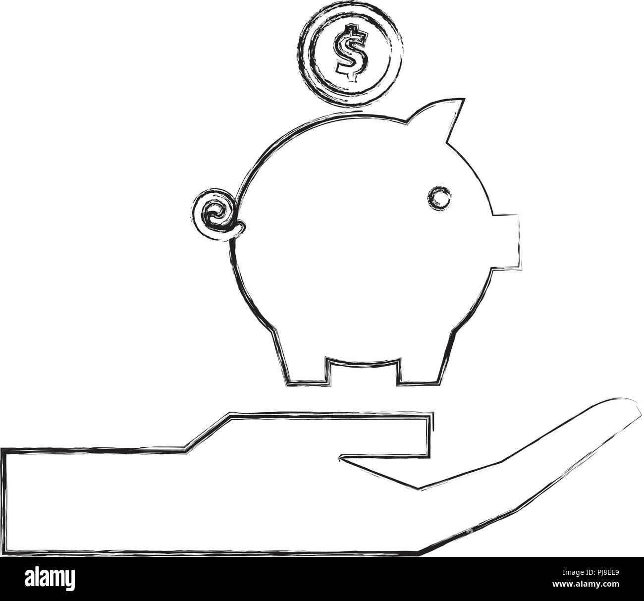 hand holding piggy bank money invest - Stock Image