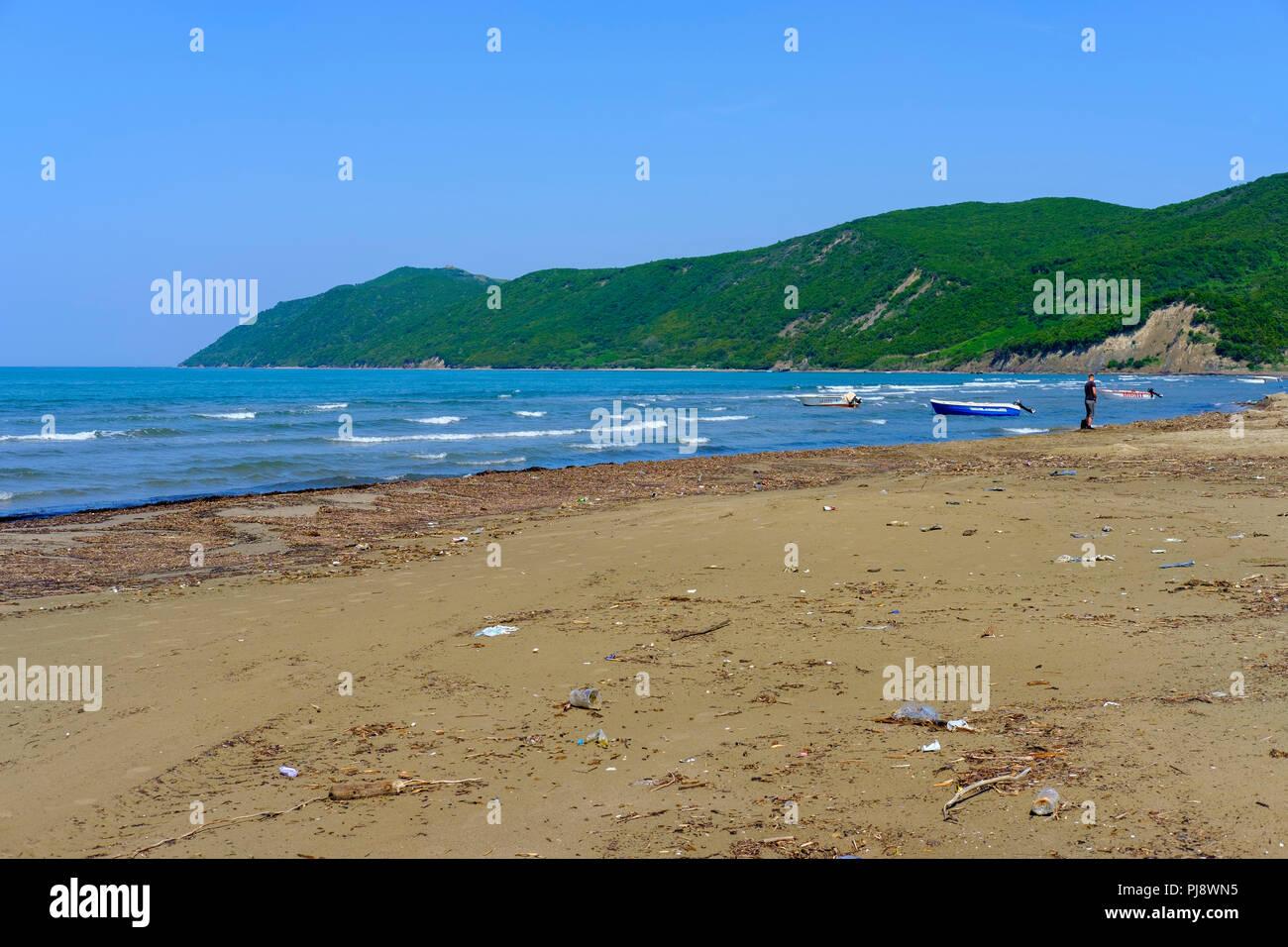 Polluted beach in Fushë-Draç near Durres, Cape Rodon, Kepi i Rodonit, Adriatic Sea, Durrës, Albania - Stock Image