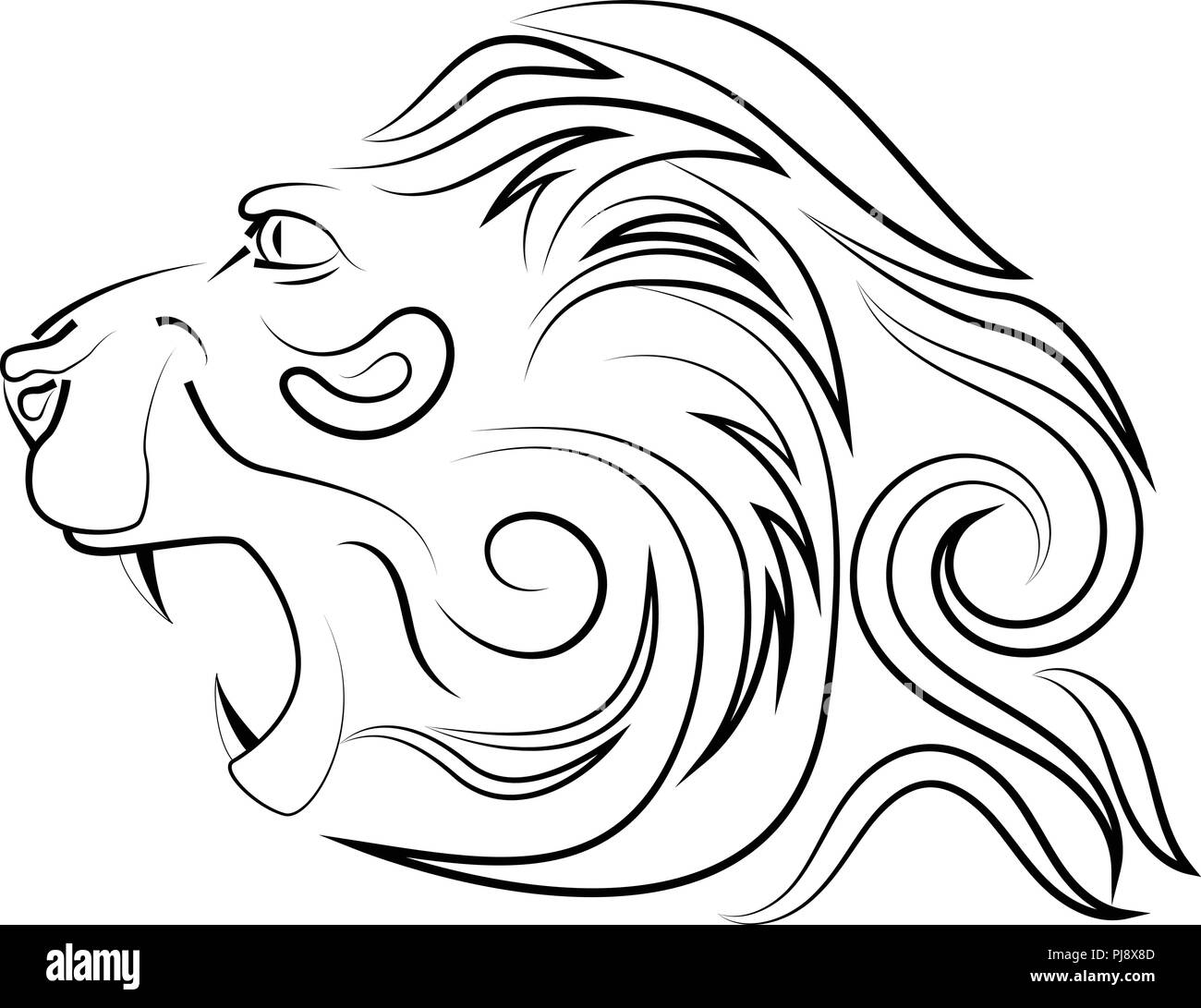 Head of lion with an open mouth with canines. Vector logo. Linear art. Concept of power and power. - Stock Image