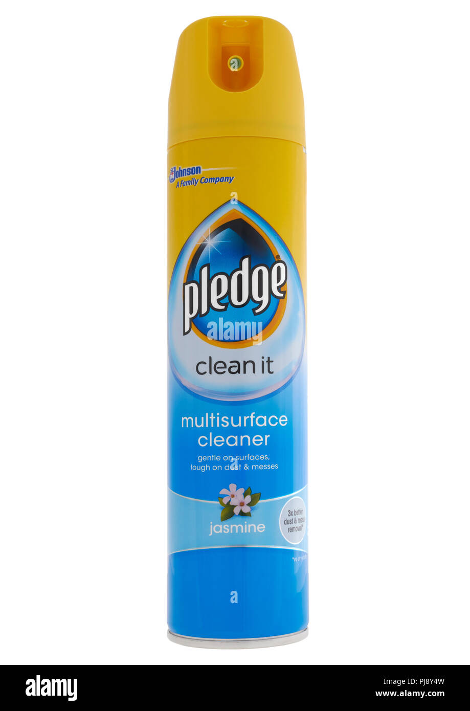 Can of Johnson Pledge multisurface cleaner on white background - Stock Image