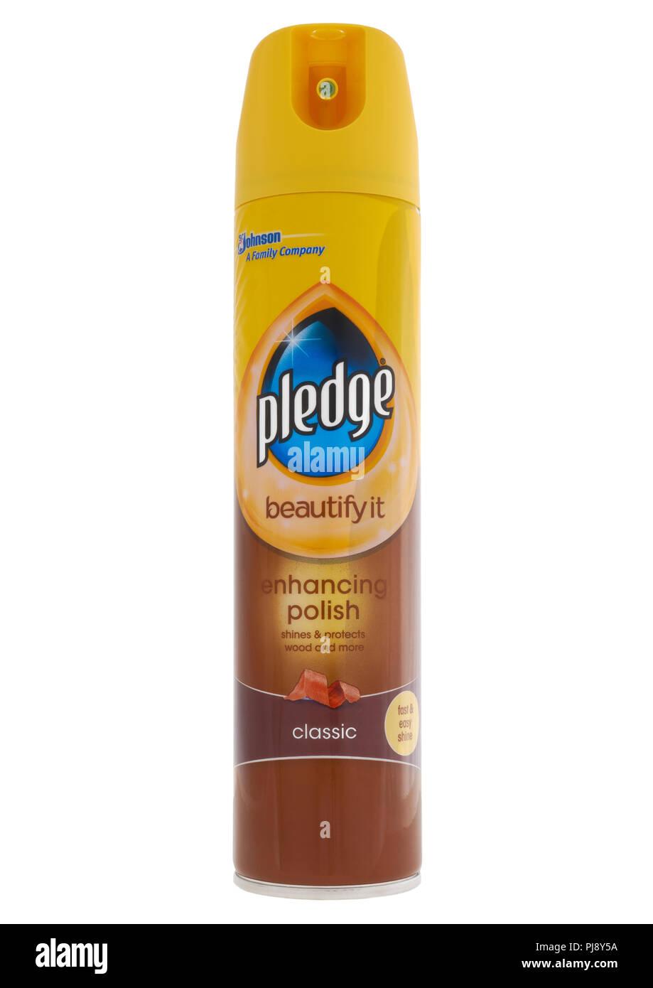 Can of Johnson Pledge enhacing polish on white background - Stock Image