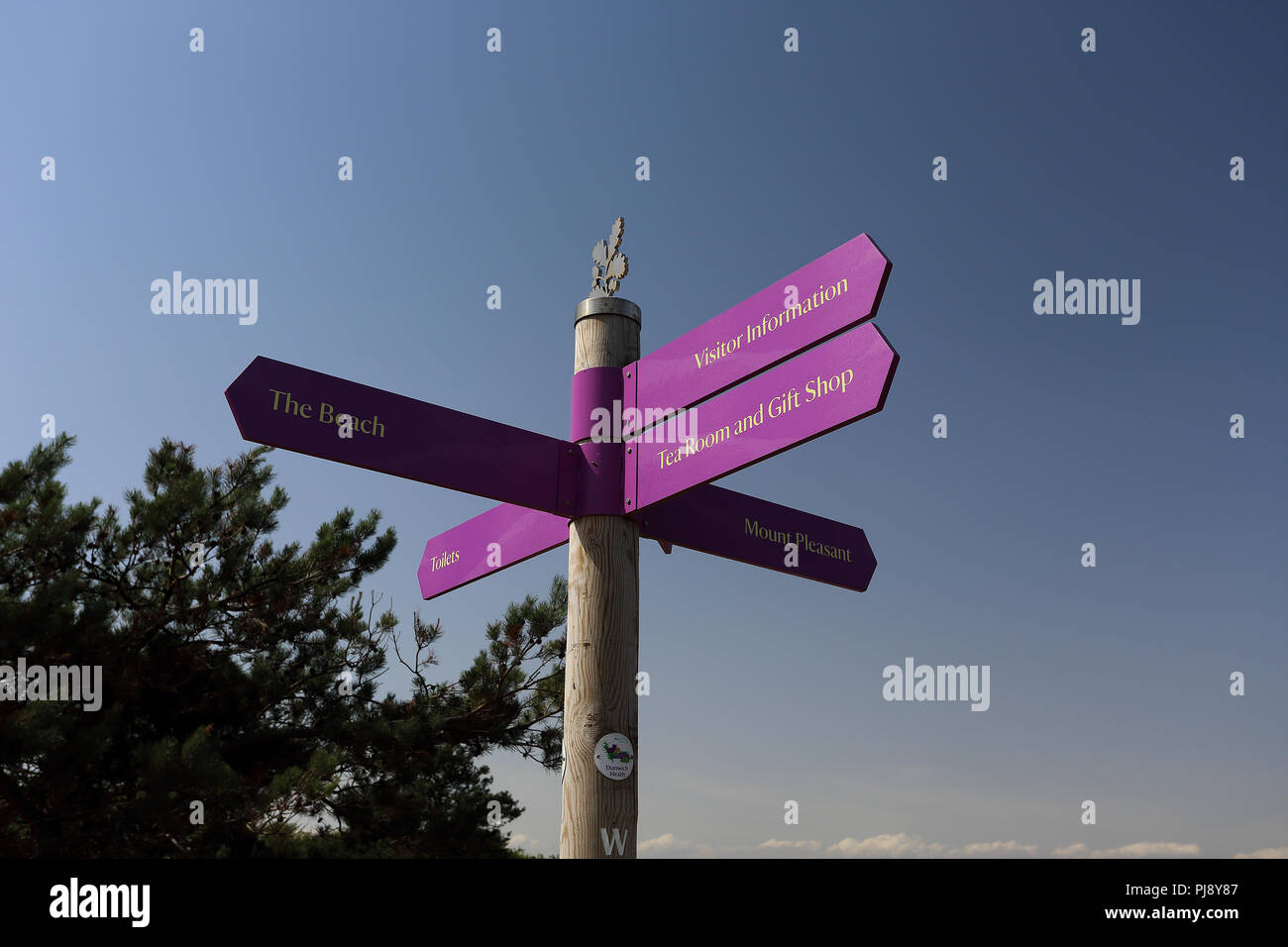 An information sign at Dunwich Heath and Beach, Dunwich, Saxmundham IP17 3DJ - Stock Image