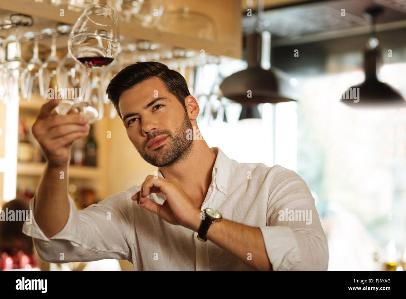Nice smart man looking at the wine colour - Stock Image
