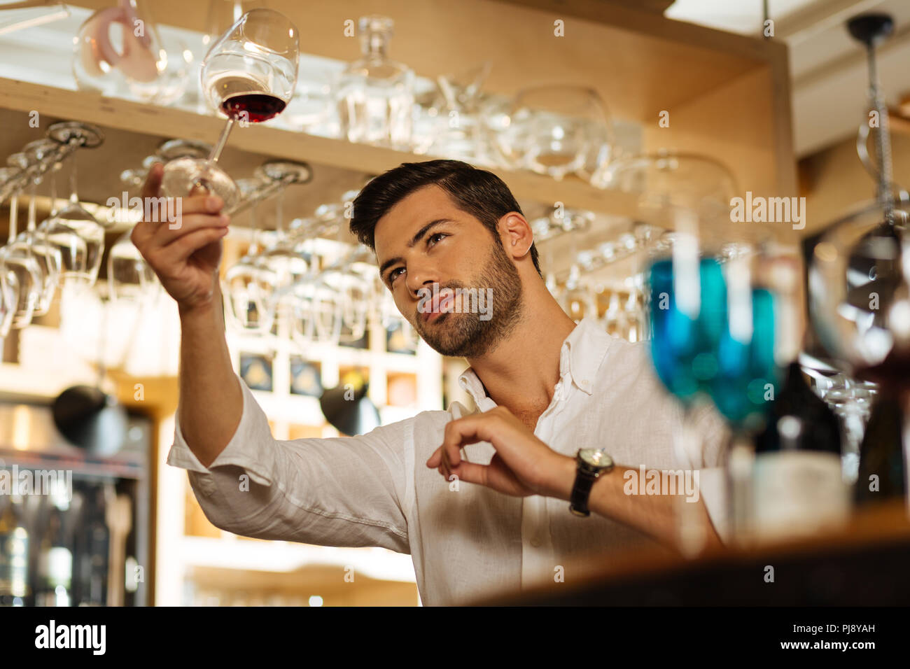 Handsome brunette man standing at the bar counter - Stock Image