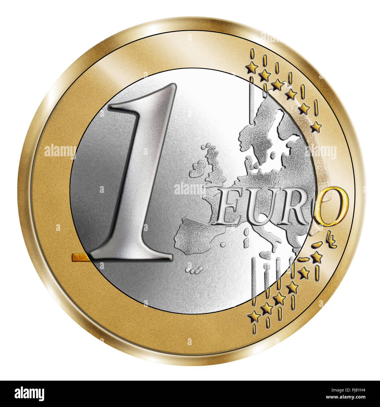 A montage of a stylised 1 Euro coin and a silver background. A Photoshop composite with inlaid grain emphasises the vivid silver and gold - Stock Image