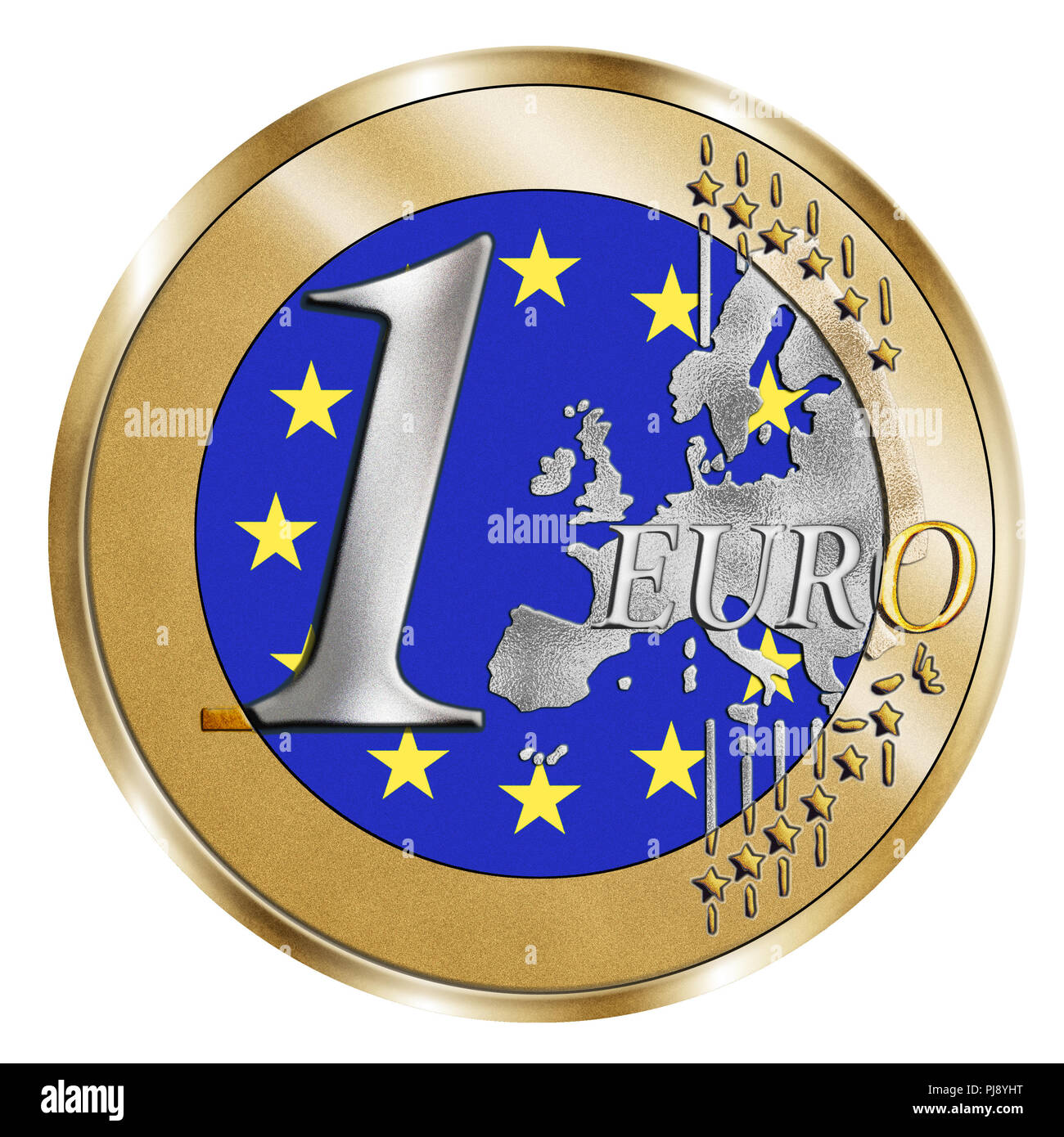 A montage of a stylised 1 Euro coin and the European flag. A Photoshop composite with inlaid grain emphasises the vivid silver and gold effect - Stock Image