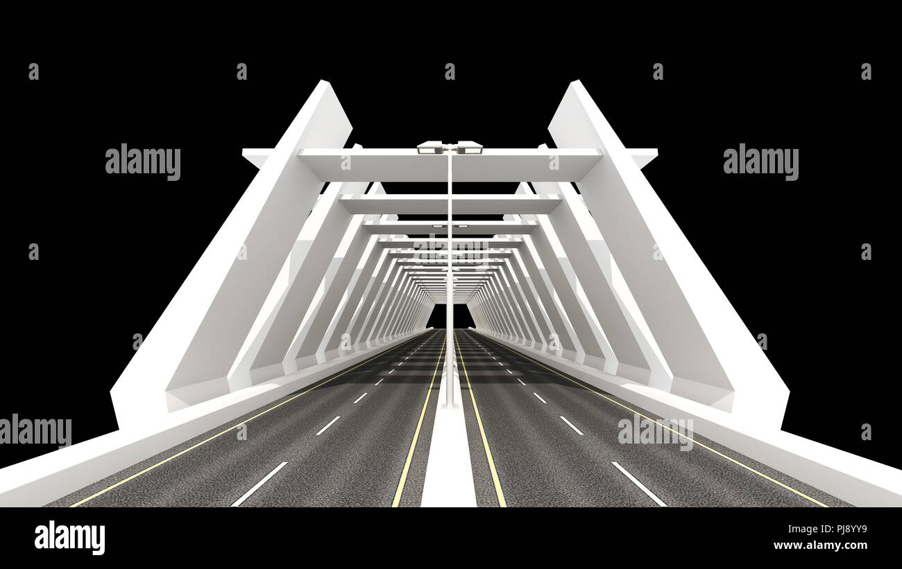 Tunnel,3d Rendering,3d Illustration, Road,Street light,Night, White, Bridge,3d Bridge,3d Bridge Illustration, Highway,Black,architecture, Bridge Mode - Stock Image