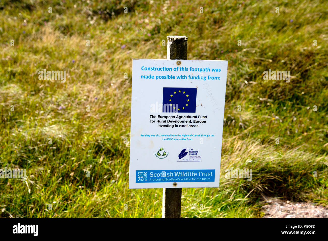 Scotland. Sutherland. Handa Island.Wildlife reserve. Sign saying footpath improved with EU funding - Stock Image