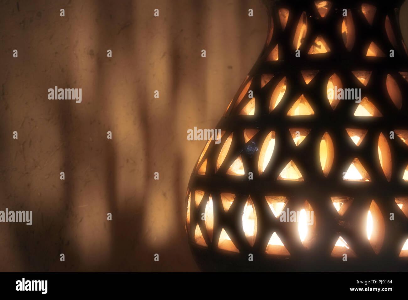 Heritage,Arabic,Old,Vintage ,Lantern,Glow,Lamp, Dark,Light, Shadow,Arabic Lantern,Arabic Lamp - Stock Image
