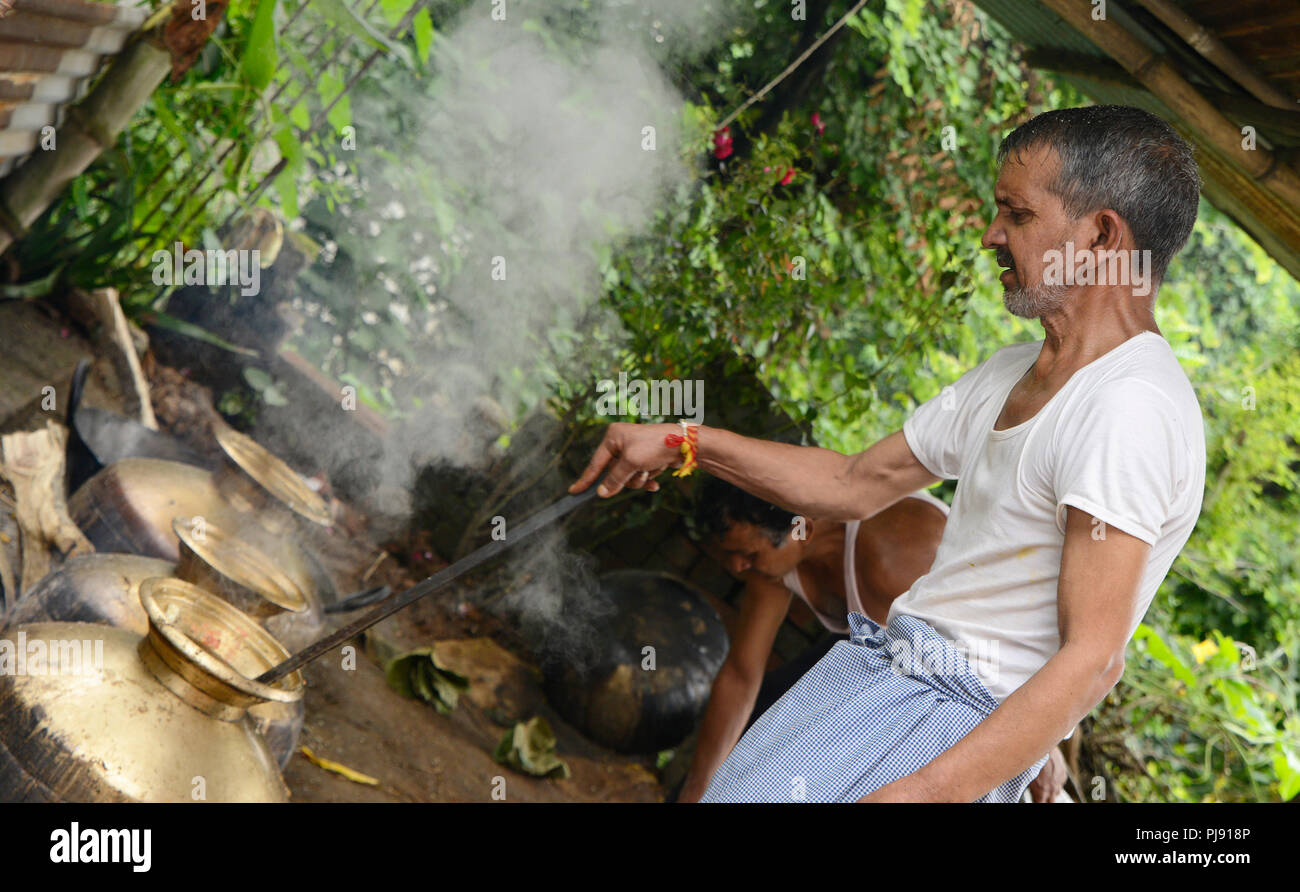 Traditional chef are cooking in the  Domestic Kitchen at Himachal Pradesh Stock Photo