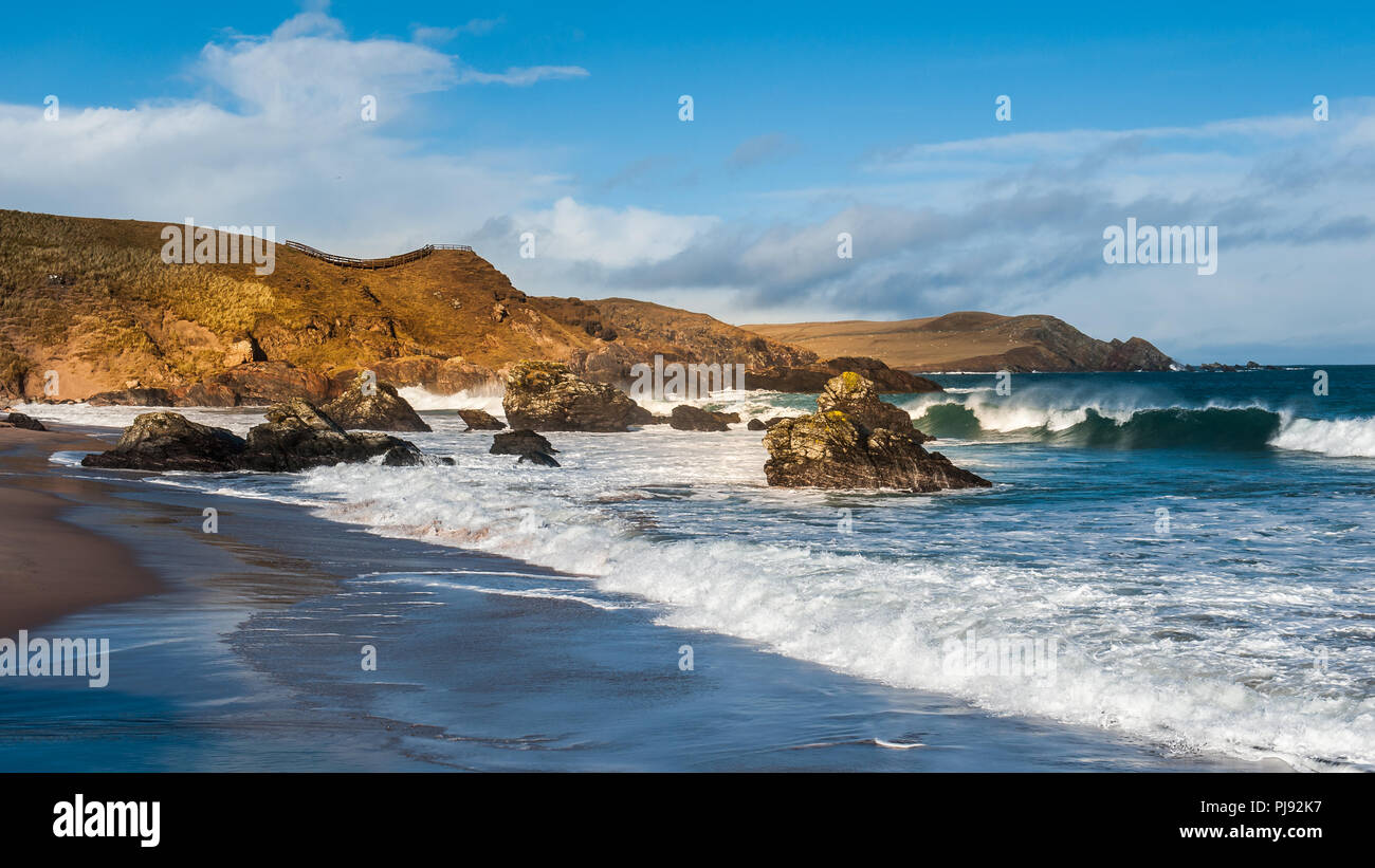 Sango Bay at Durness on the North coast of Scotland a popular beach with tourists driving on the North coast 500 - Stock Image