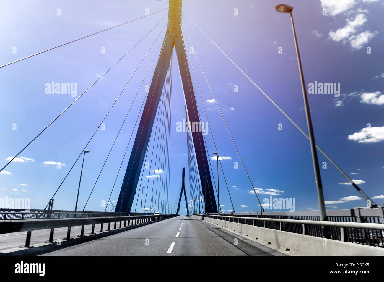 On the Köhlbrandbrücke in Hamburg, Germany, Europe, Auf der Köhlbrandbrücke in Hamburg, Deutschland, Europa - Stock Image