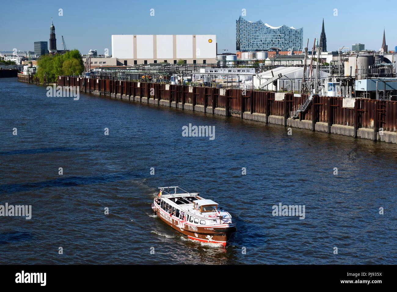 Longboat in the colours of the football association FC Saint Pauli on the Reiherstieg in Hamburg, Germany, Europe, Barkasse in den Farben des Fußballv Stock Photo