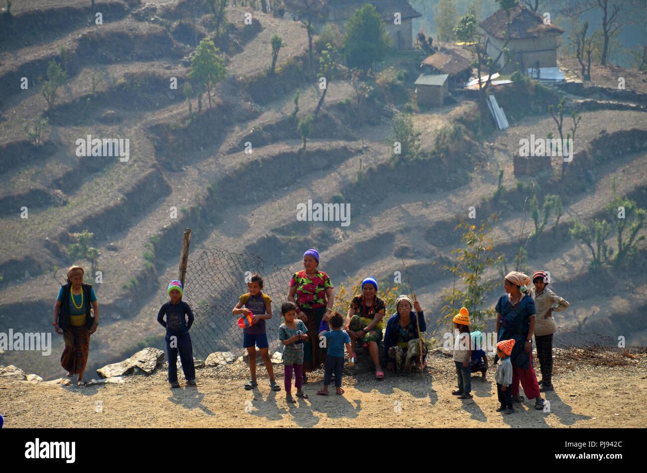 A group of Dalit (untouchable) people in the village of Tamakhani, Solukhumbu, Nepal - Stock Image