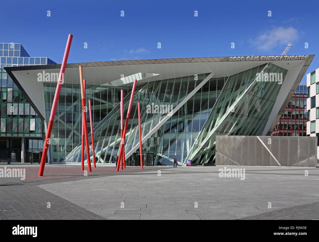 Front elevation of the Bord Gais Energy Theatre, Dublin, designed by architect Daniel Libeskind. - Stock Image