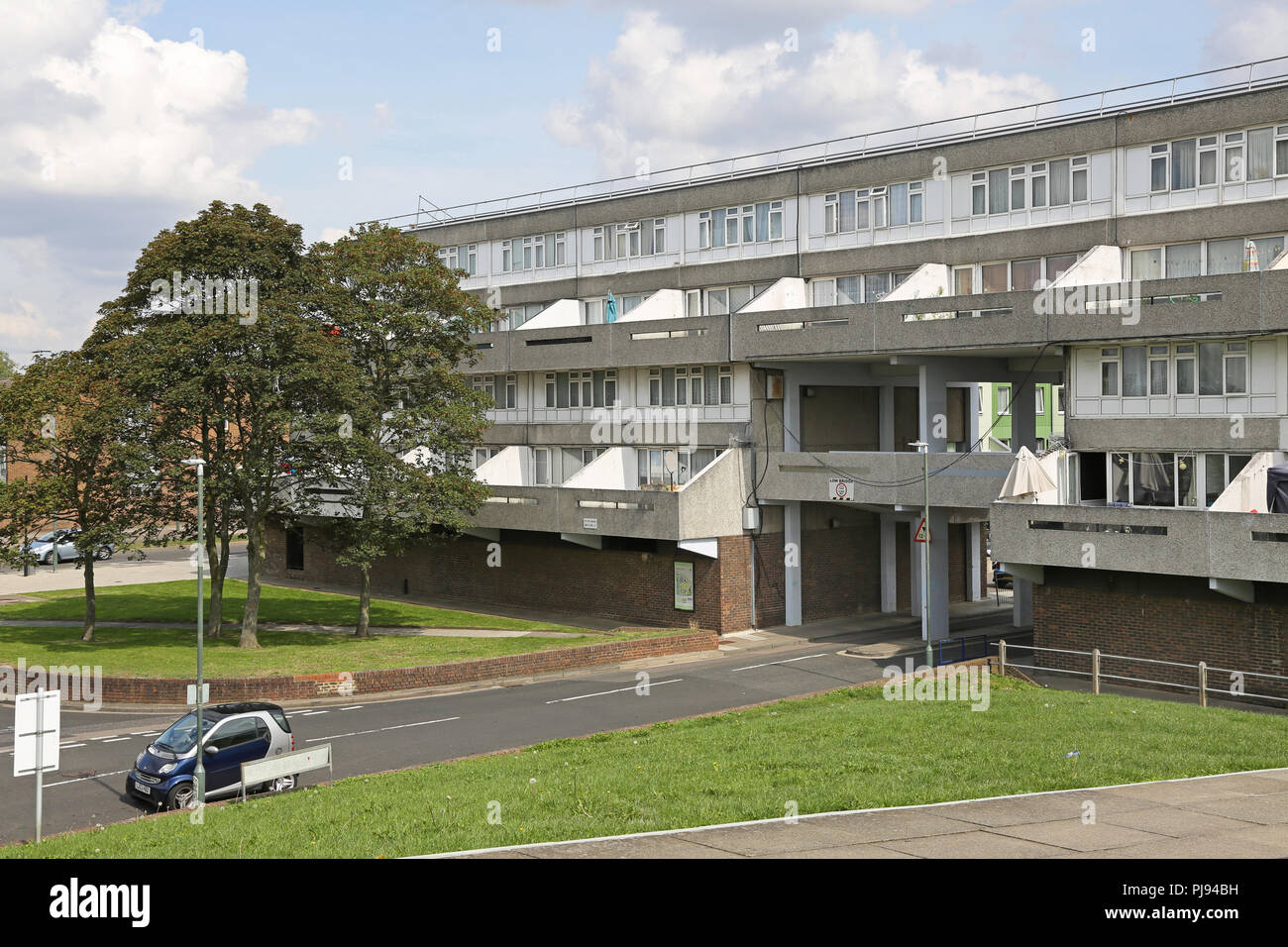 Low rise housing blocks at Thamesmead, southeast London, the famous 1960s social housing project developed by the Greater London Council - Stock Image