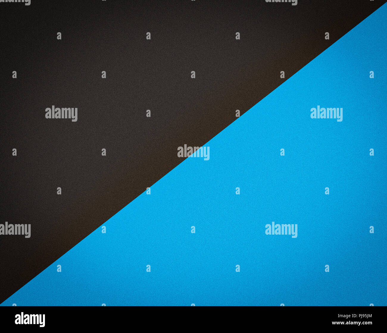 Black & Blue Split Tone Background.  Diagonal division with noise texture and vignette. Stock Photo