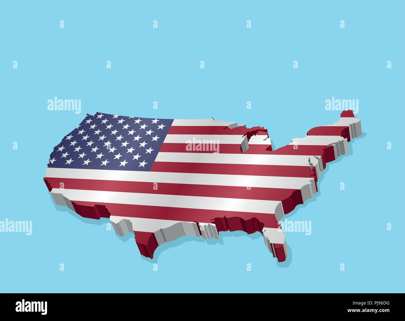 Three Dimensional Map of USA and American Flag. All the objects, shadows and background are in different layers. - Stock Vector