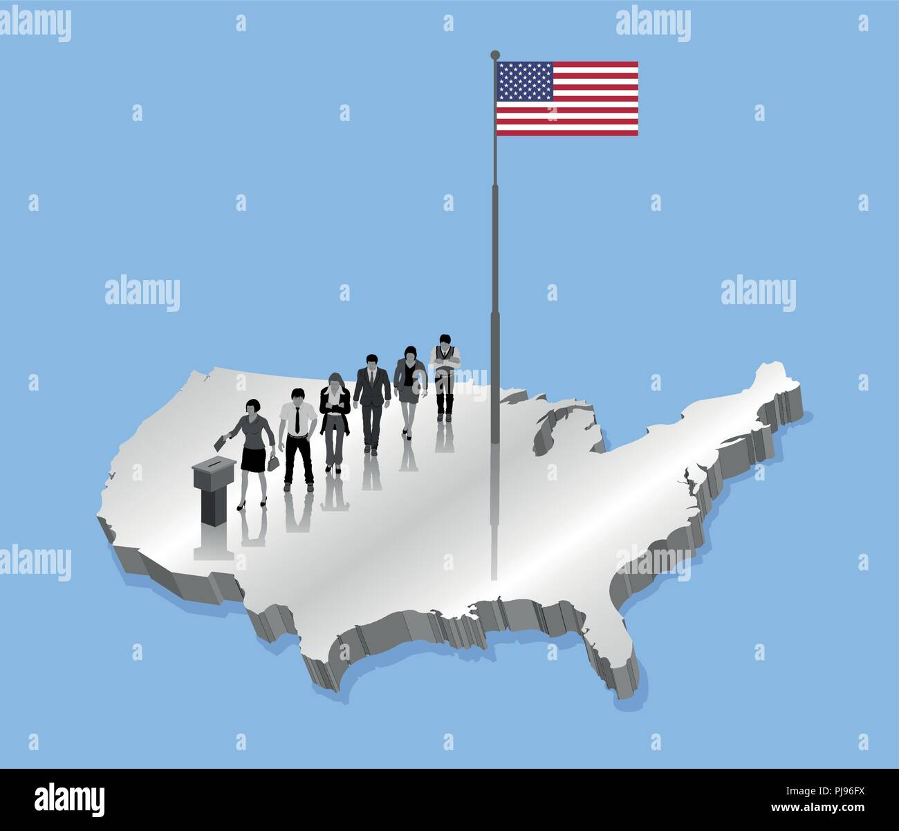 American citizens voting for USA election over an 3D US map with Flagpole. All the objects, shadows and background are in different layers. - Stock Vector