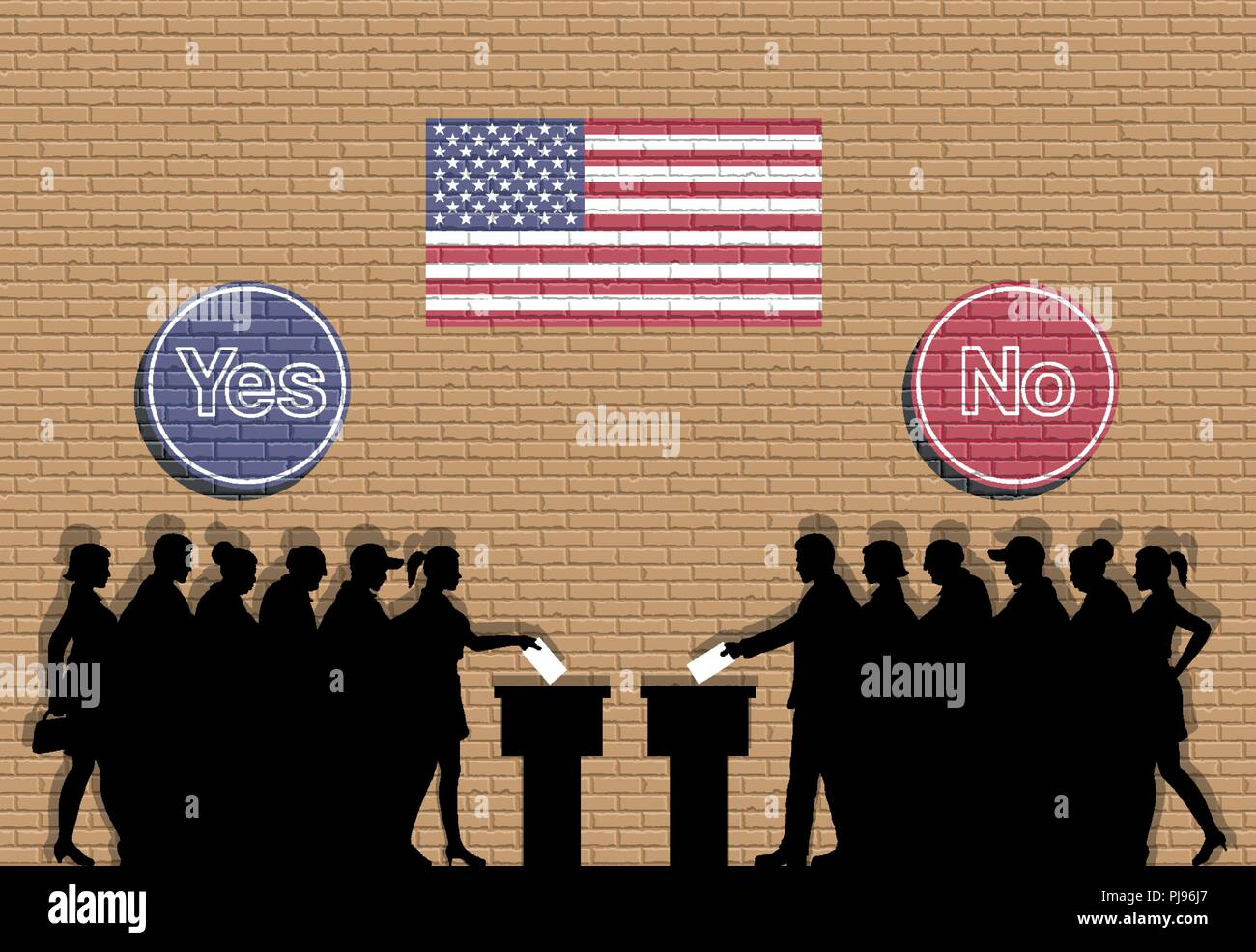 American voters crowd silhouette in USA election with yes and no signs graffiti. All the silhouette objects, icons and background are in different lay - Stock Vector