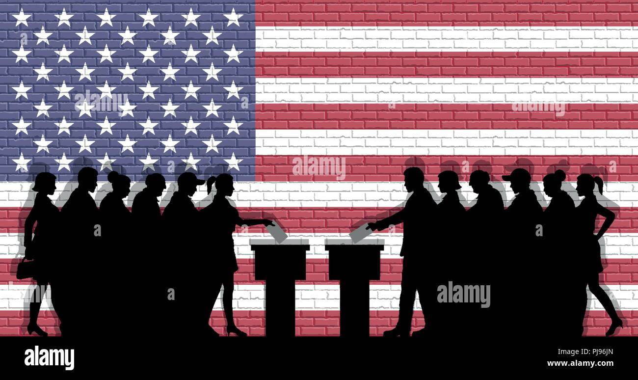 American voters crowd silhouette in election with USA flag graffiti in front of brick wall. All the silhouette objects, icons and background are in di - Stock Vector