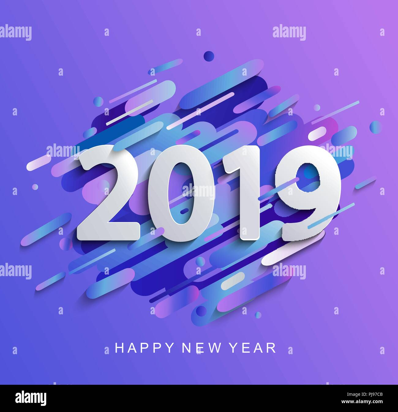 creative happy new year 2019 card on modern gradient dynamic background perfect for presentations