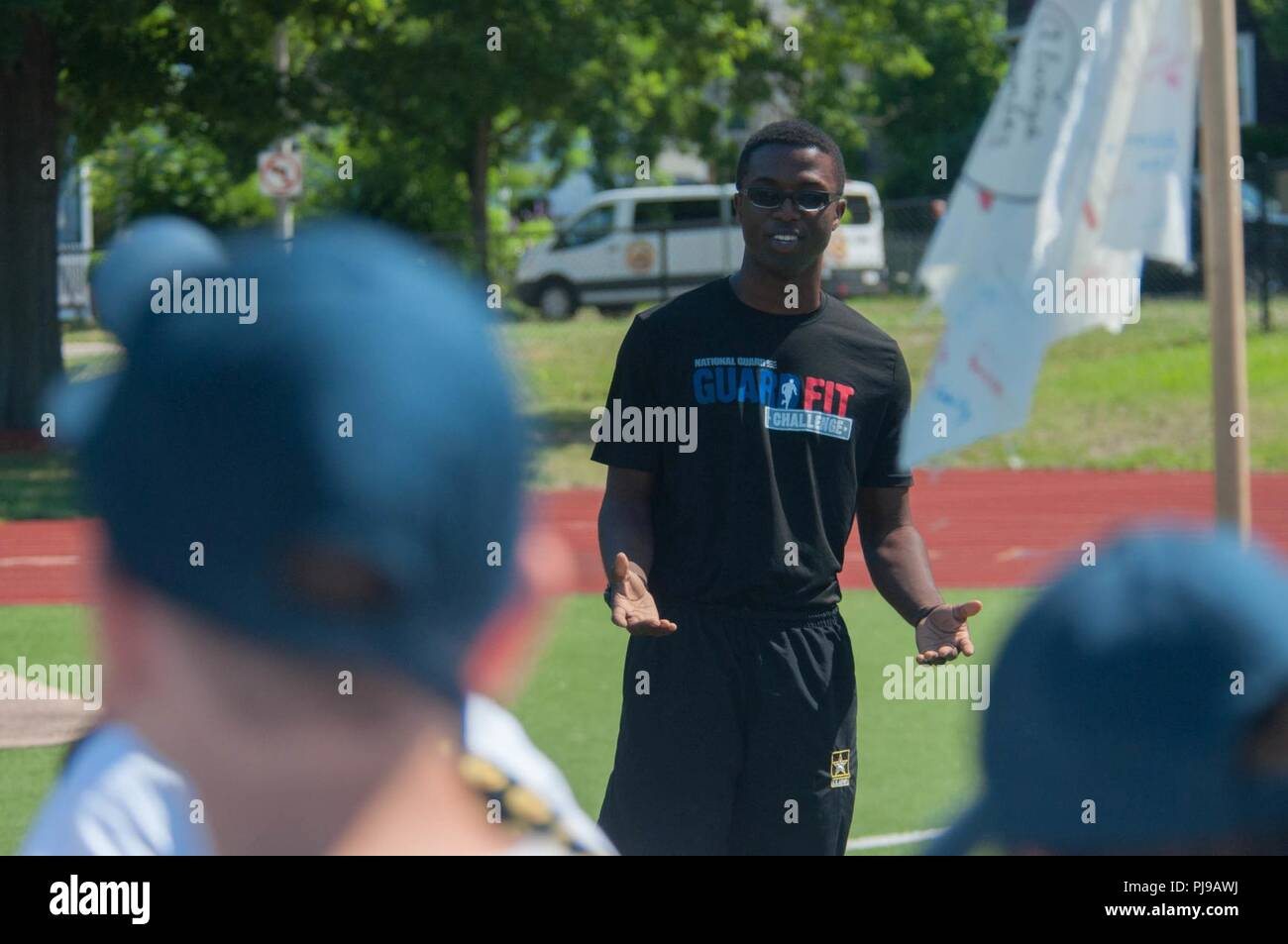 BOSTON – Army Pfc  Quentin Michael introduces himself to