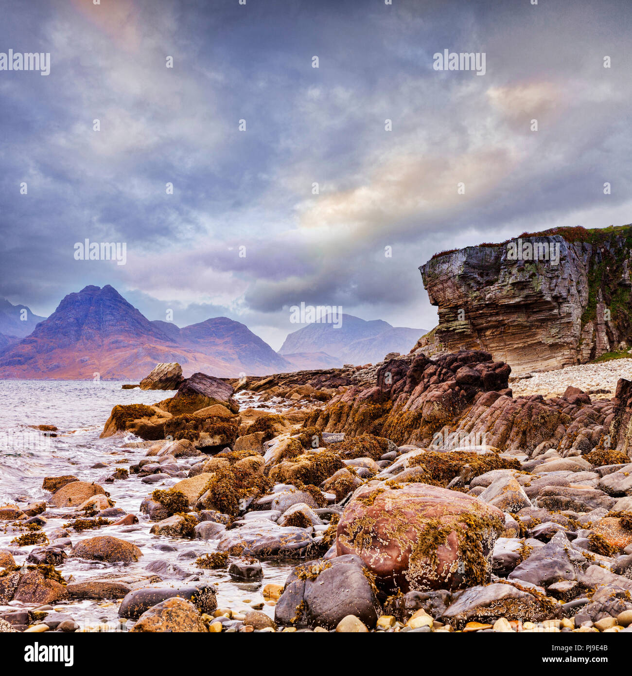 The Cuillins from Elgol, Isle of Skye, Inner Hebrides, Highland, Scotland, UK - Stock Image
