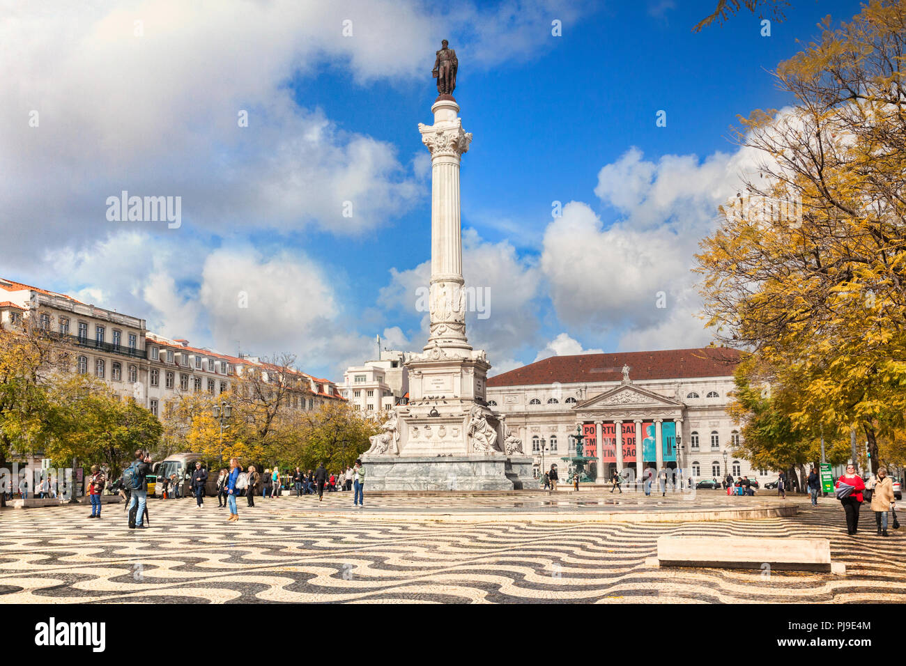 5 March 2018: Lisbon, Portugal - Historic Rossio Square, with the Column of Pedro IV, on a sunny day in early spring. - Stock Image