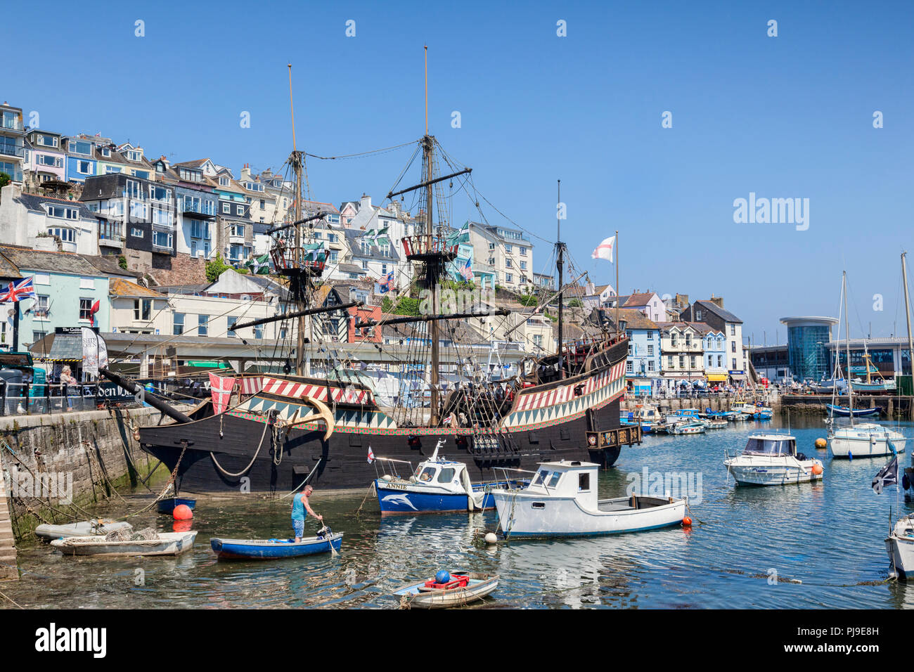 23 May 2018: Brixham, Devon, UK - The Golden Hind replica, an attraction in Brixham Harbour. - Stock Image