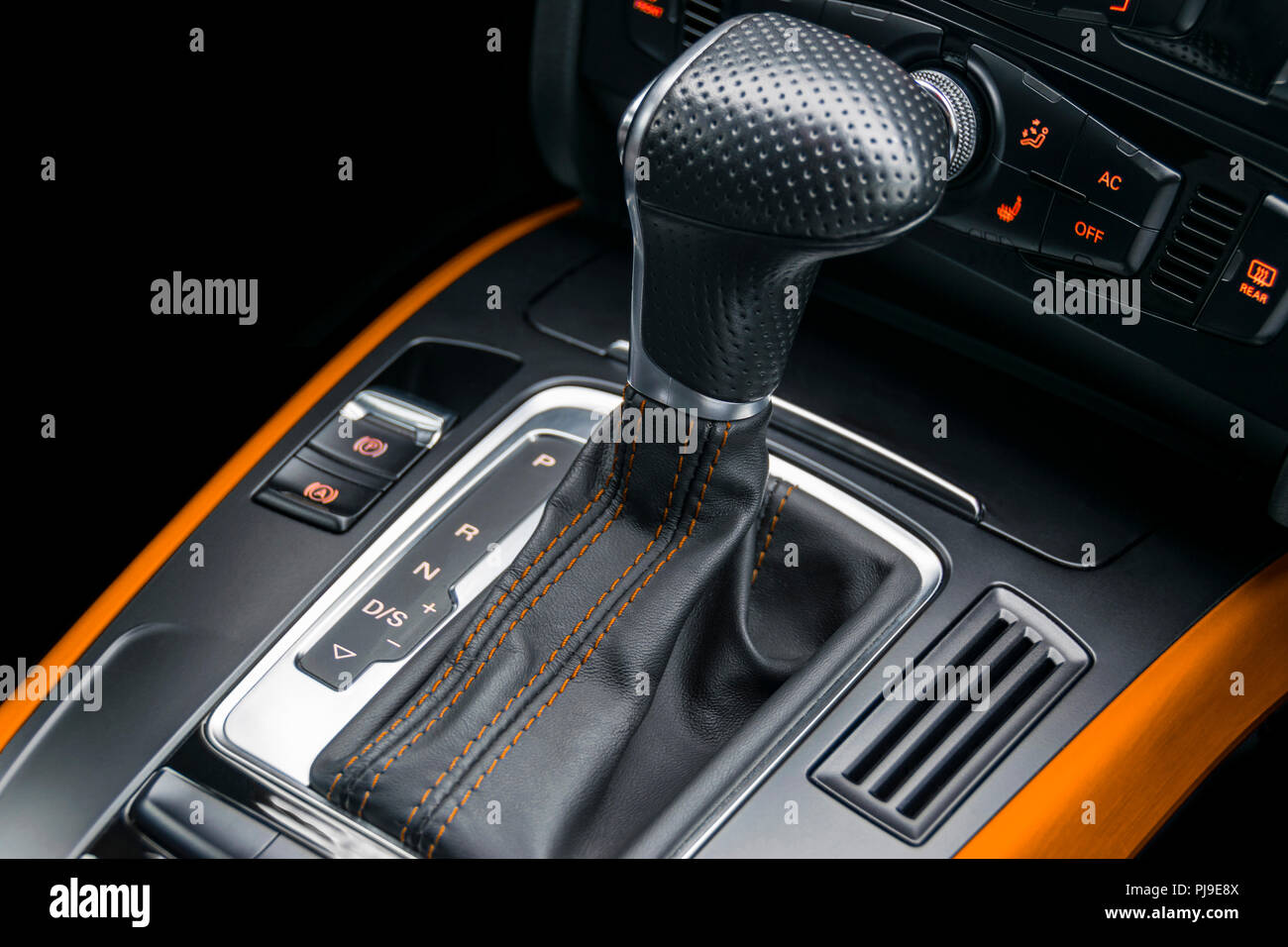 Automatic gear stick of a modern car  Modern car interior
