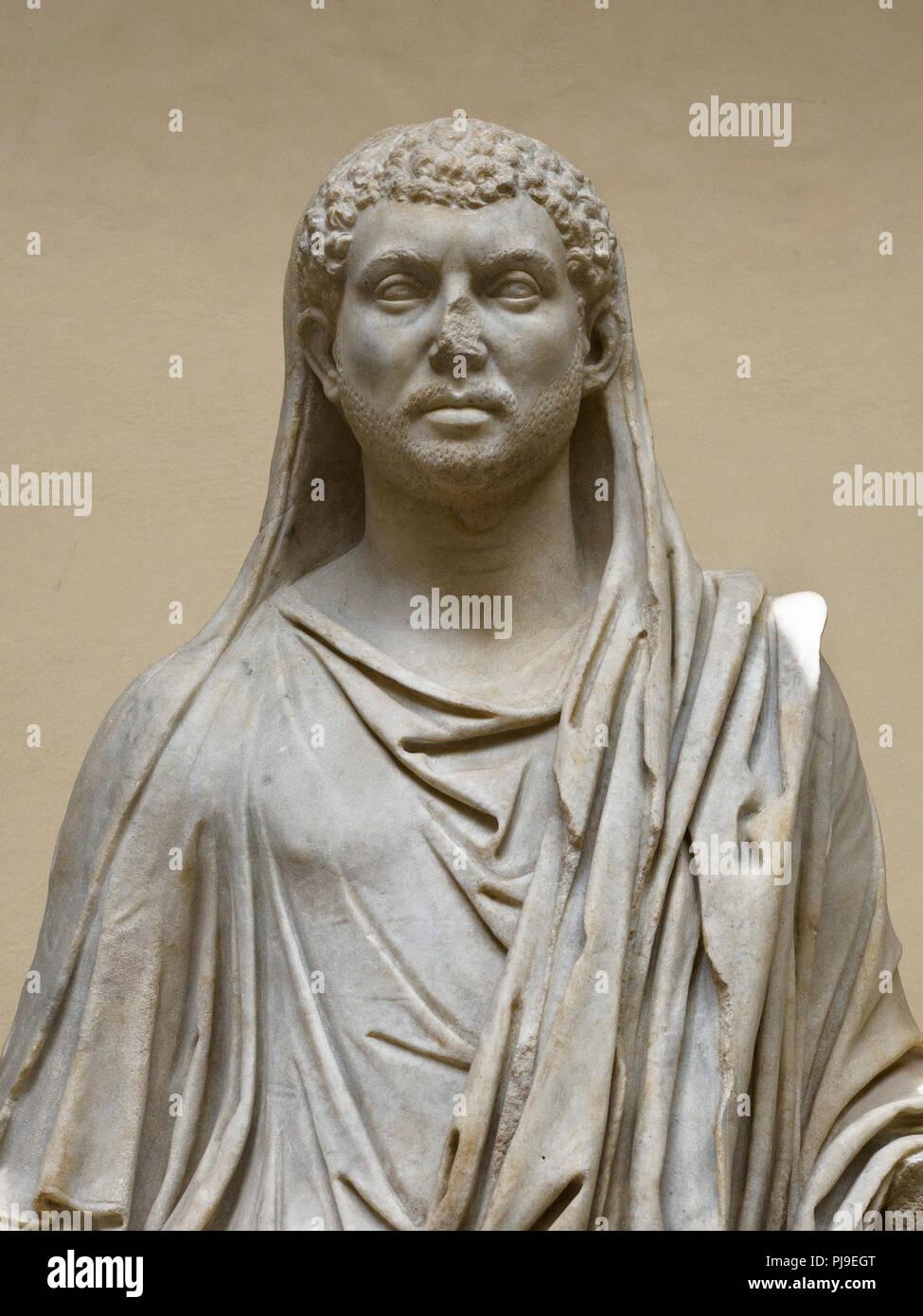 Rome. Italy. Portrait Statue of Roman emperor Maxentius, 4th century A.D. Museo Archeologico Ostiense, Ostia Antica. - Stock Image