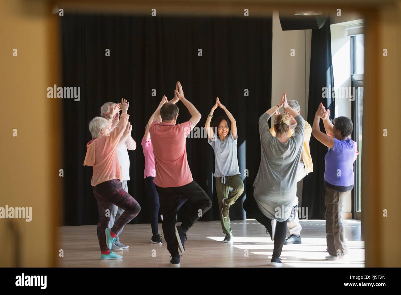 Active seniors exercising in circle, practicing yoga tree pose - Stock Image