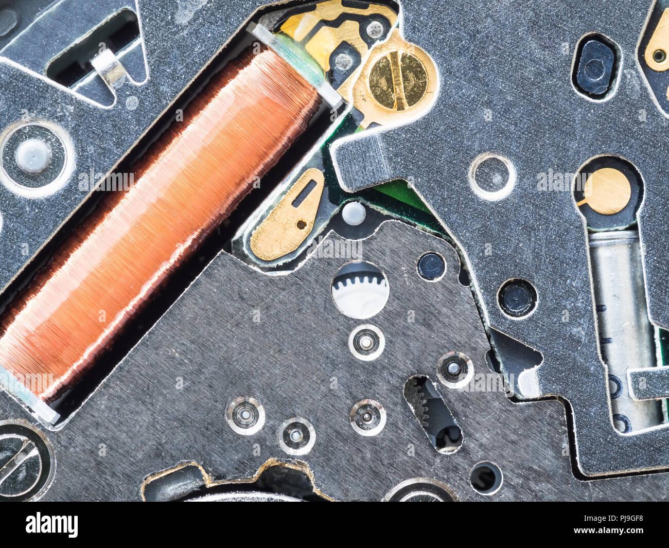 Quartz Movement Circuit Great Installation Of Wiring Diagram Clock Board In Watch Close Up Stock Photo Rh Alamy Com