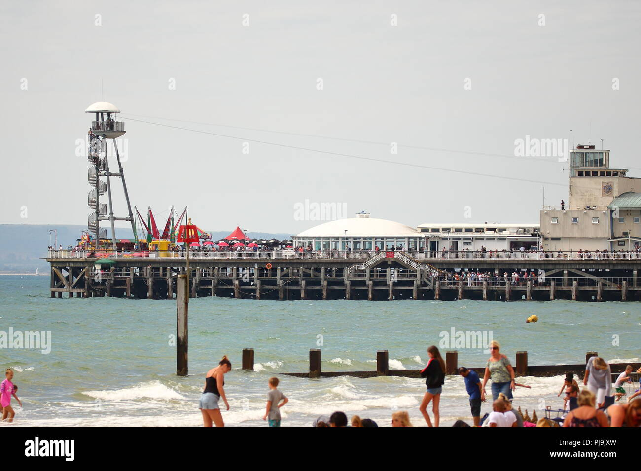 The pier at the Bournemouth Air Festival 2018, Bournemouth, UK - Stock Image