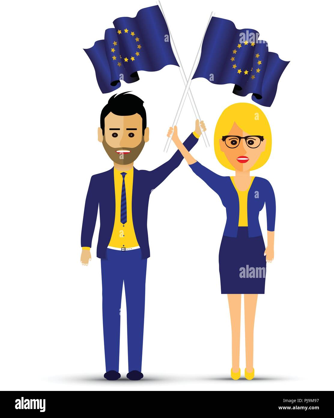 a couple with european waving flags - Stock Image
