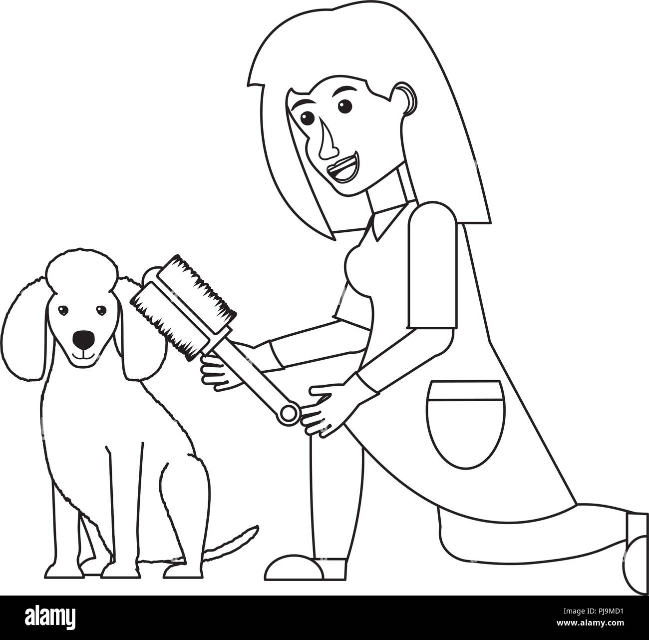 cartoon vet examining a cute poodle dog over white background, vector illustration - Stock Vector