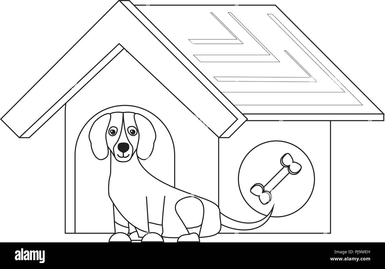 pet house with cute dachshund dog over white background, vector illustration - Stock Image