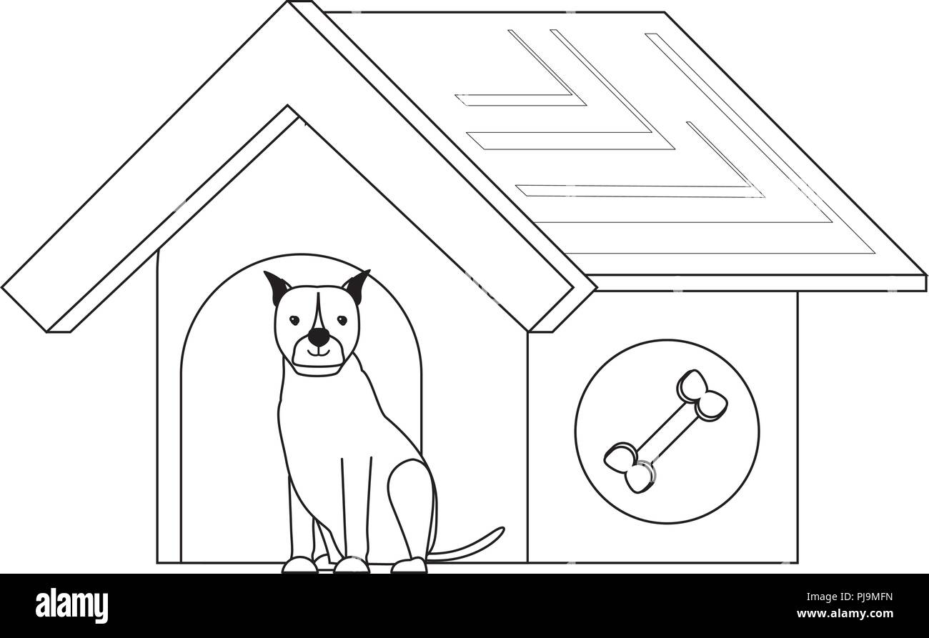 pet house with cute boxer dog over white background, vector illustration - Stock Image