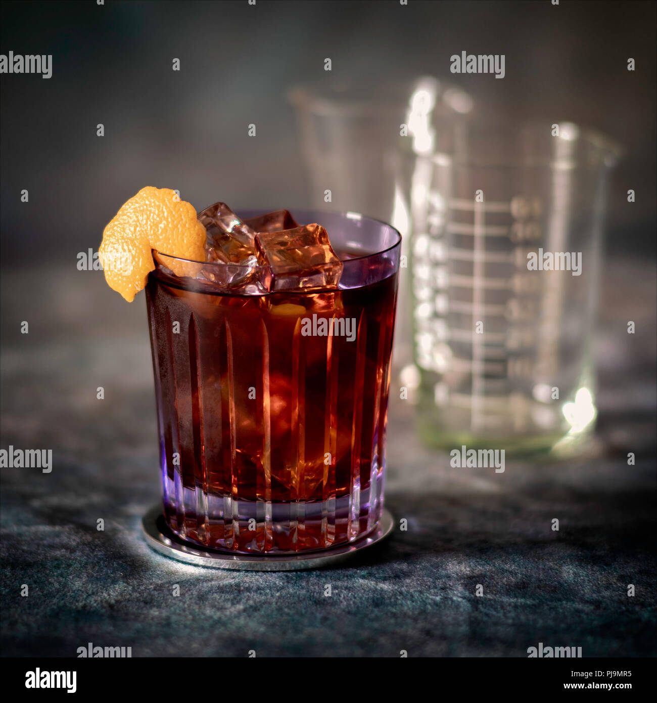 Negroni Svegliato Cocktail in fancy tumbler with ice - Stock Image