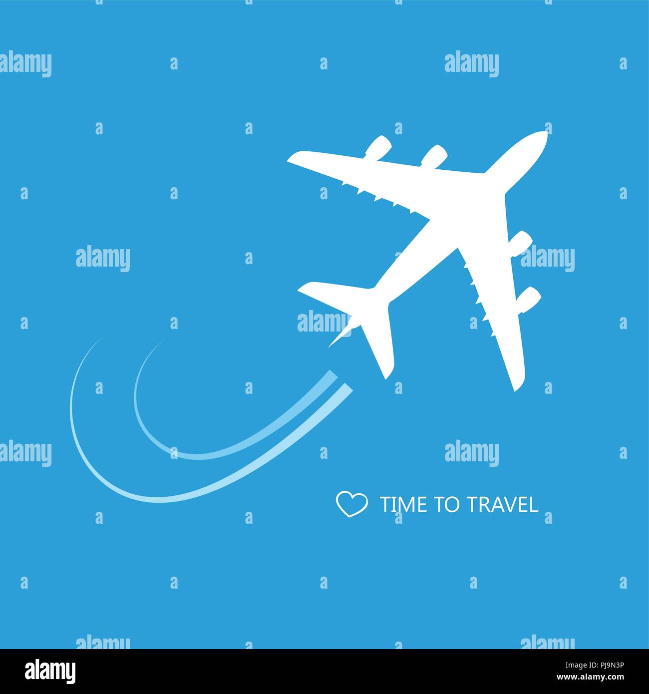 passenger airplane time to travel blue background vector illustration EPS10 - Stock Vector