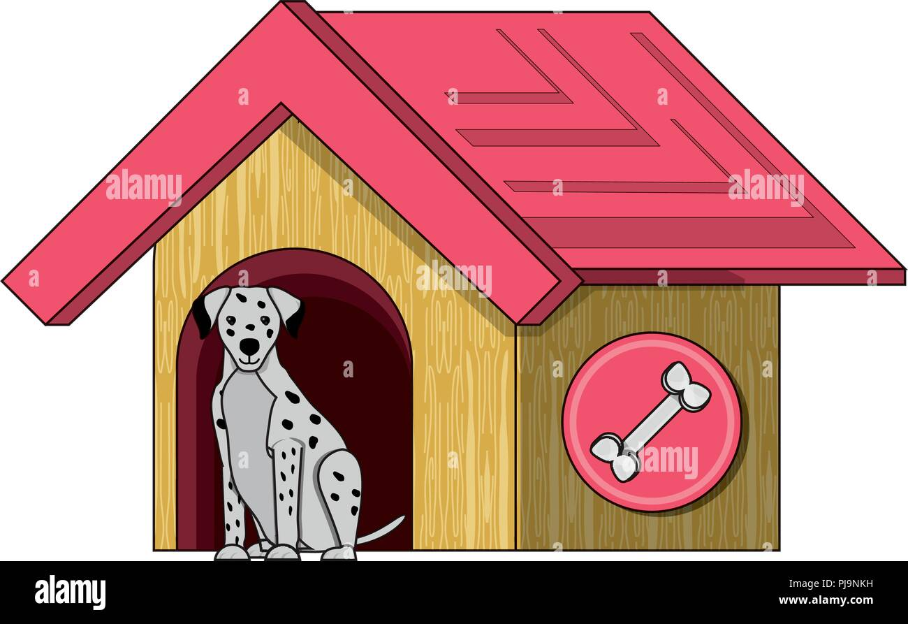 pet house with cute dalmatian dog over white background, vector illustration - Stock Image