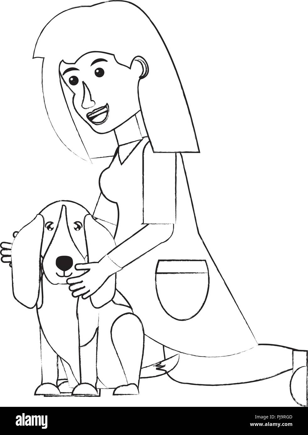cartoon veterinary woman with cute basset hound dog over white background, vector illustration - Stock Image