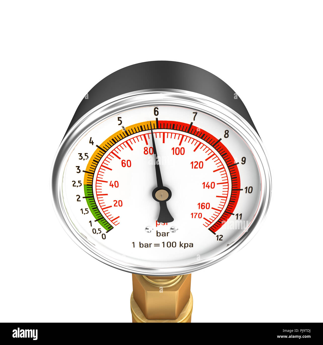 3d rendering of classic pressure gauge isolated on white background - Stock Image