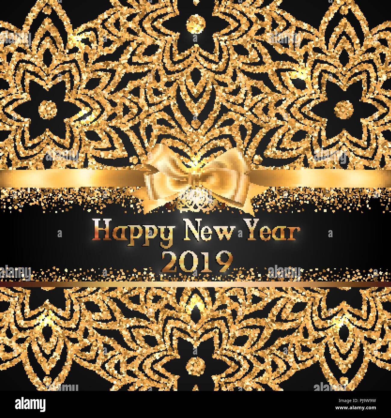 gorgeous and shiny new year greeting card or banner with gold ribbon bow and place for text on black background with sparkly glitter ornamental decora