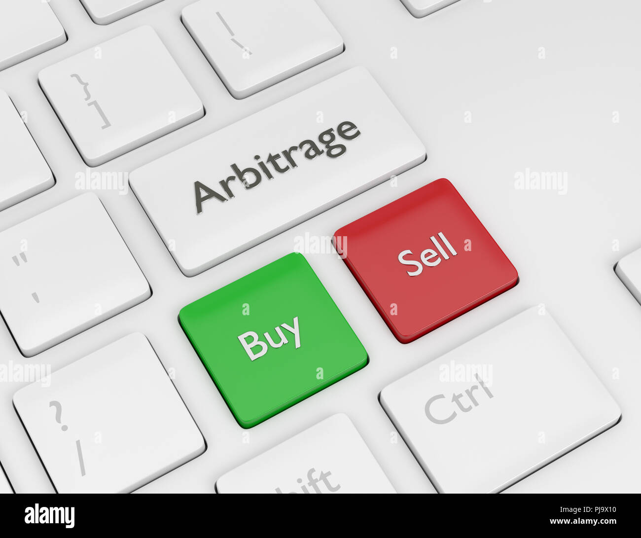 3d render of computer keyboard with ARBITRAGE button. Stock market issue concept - Stock Image